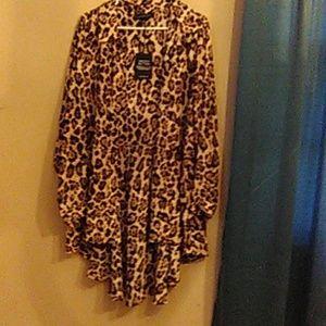 Leopard Print Hi Low Peplum Tunic